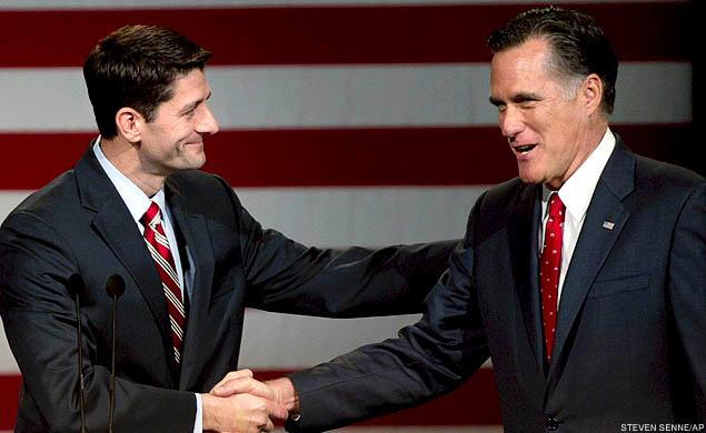 Mitt Romney shaking hands with Paul Ryan